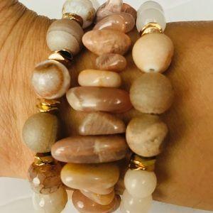 Jewelry - Beige stack bracelets